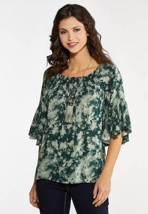 Plus Size Green Tie Dye Poet Top