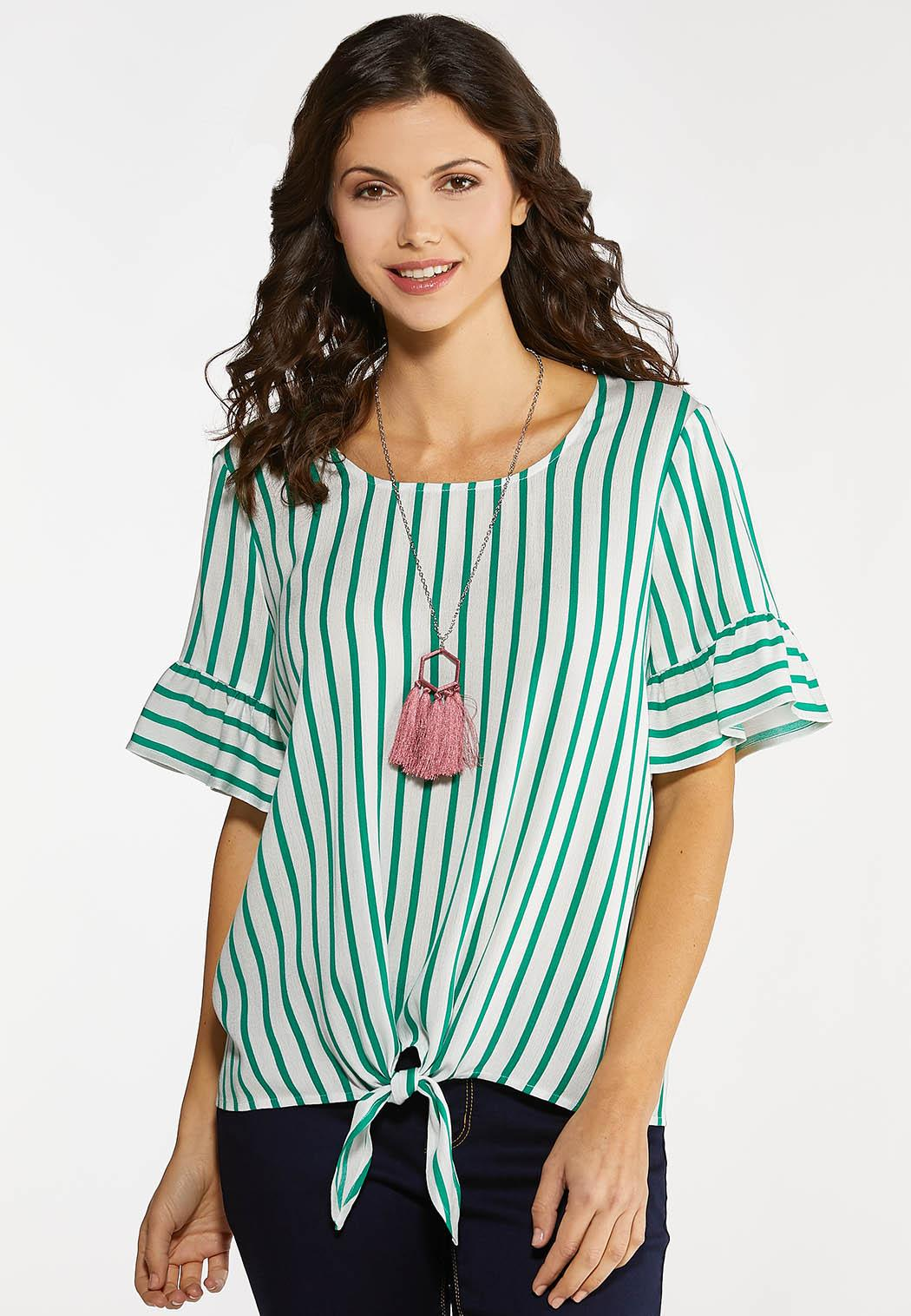 Plus Size Ruffled Green Stripe Top