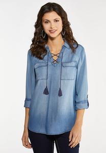 Lace Up Chambray Top