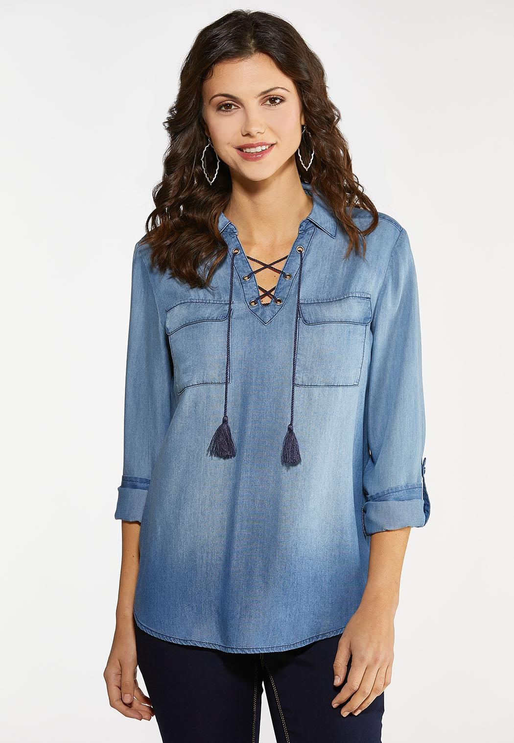 Plus Size Lace Up Chambray Top