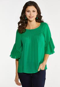 Plus Size Solid Poet Top