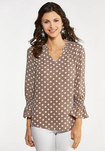 Plus Size Ruffled Polka Dotted Top