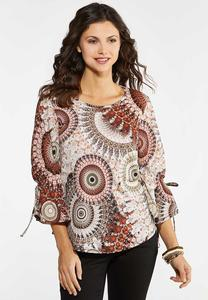 Plus Size Caramel Medallion Top