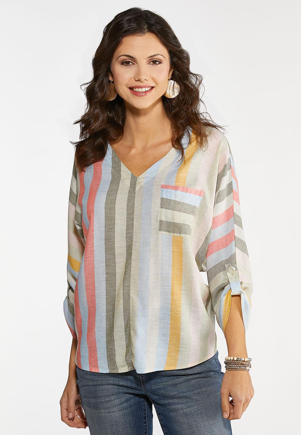 Plus Size Striped Dolman Sleeve Top