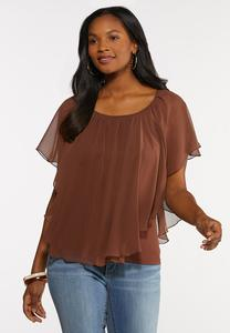 Solid Chiffon Capelet