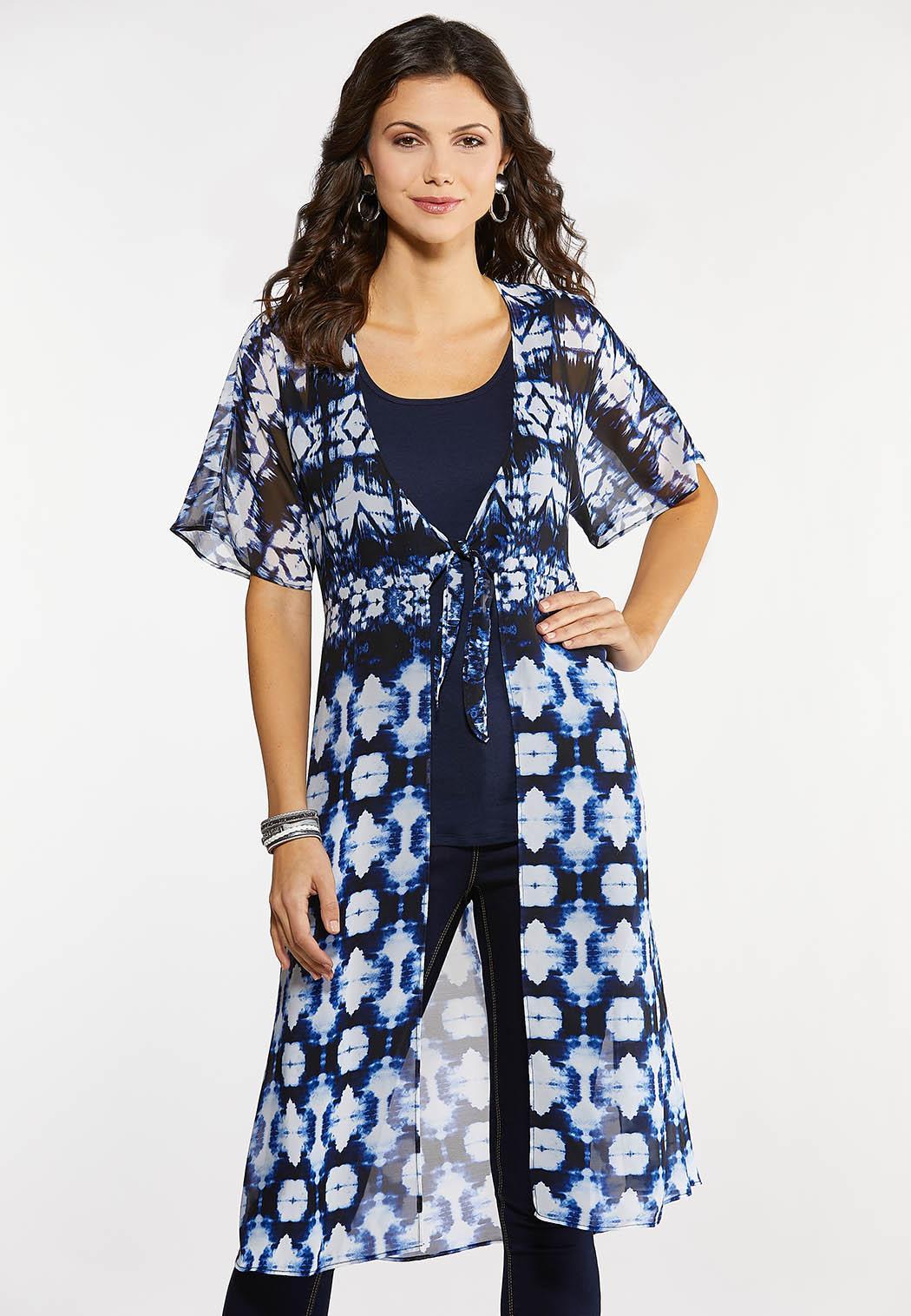 Plus Size Blue Tie Dye Kimono
