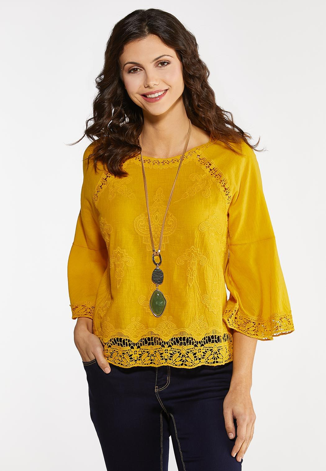 Gold Crochet Trim Top