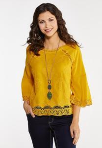 Plus Size Gold Crochet Trim Top