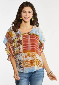 Plus Size Mixed Print Chiffon Caplet