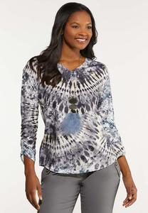 Plus Size Ruched Tie Dye Top