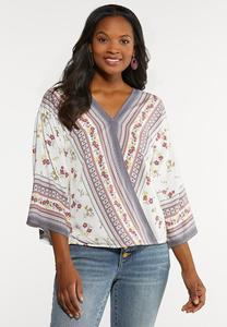 Plus Size Gypsy Floral Top