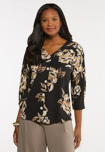 Plus Size Floral Button Down Top