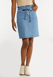 Plus Size Denim Paperbag Skirt