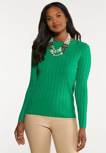 Plus Size Fitted Ribbed Sweater
