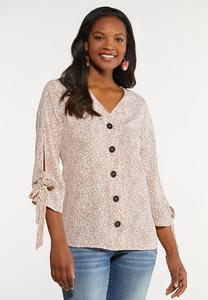 Speckled Button Front Shirt
