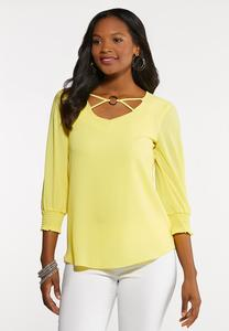Plus Size Hardware Neckline Top