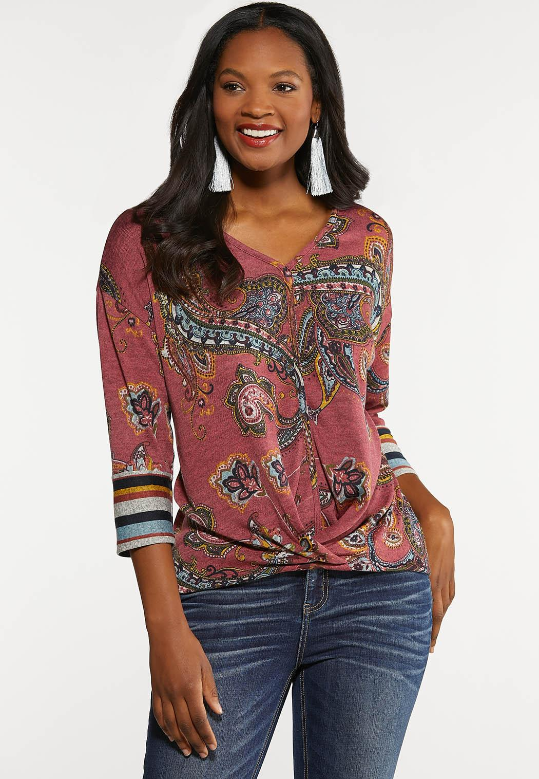 Plus Size Knotted Rose Paisley Top