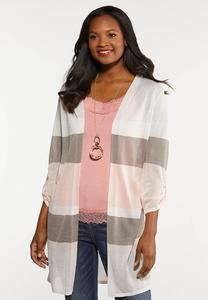 Plus Size Sheer Stripe Cardigan
