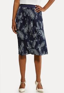 Pleated Paisley Skirt
