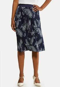 Plus Size Pleated Paisley Skirt