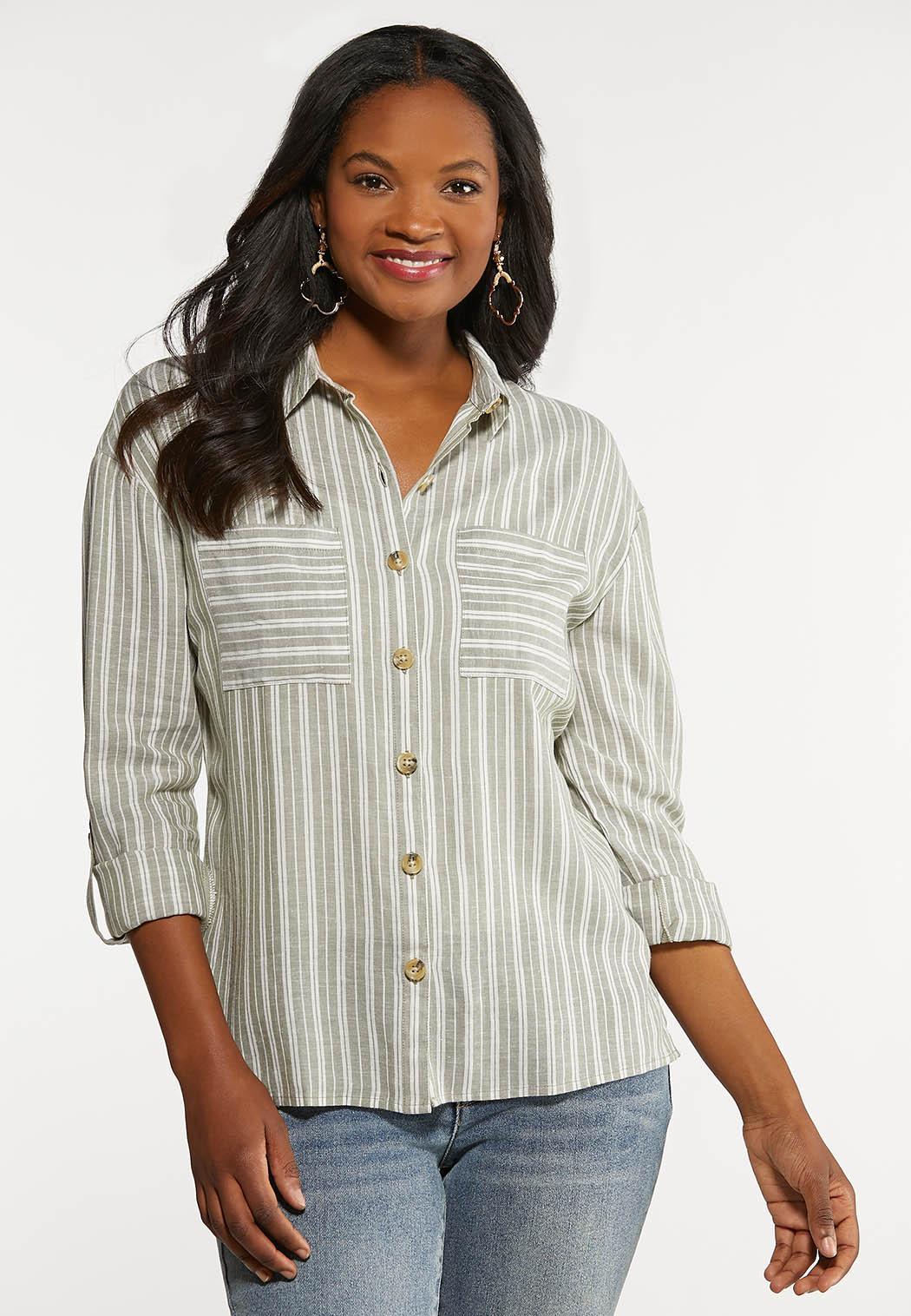 Plus Size Linen Utility Shirt