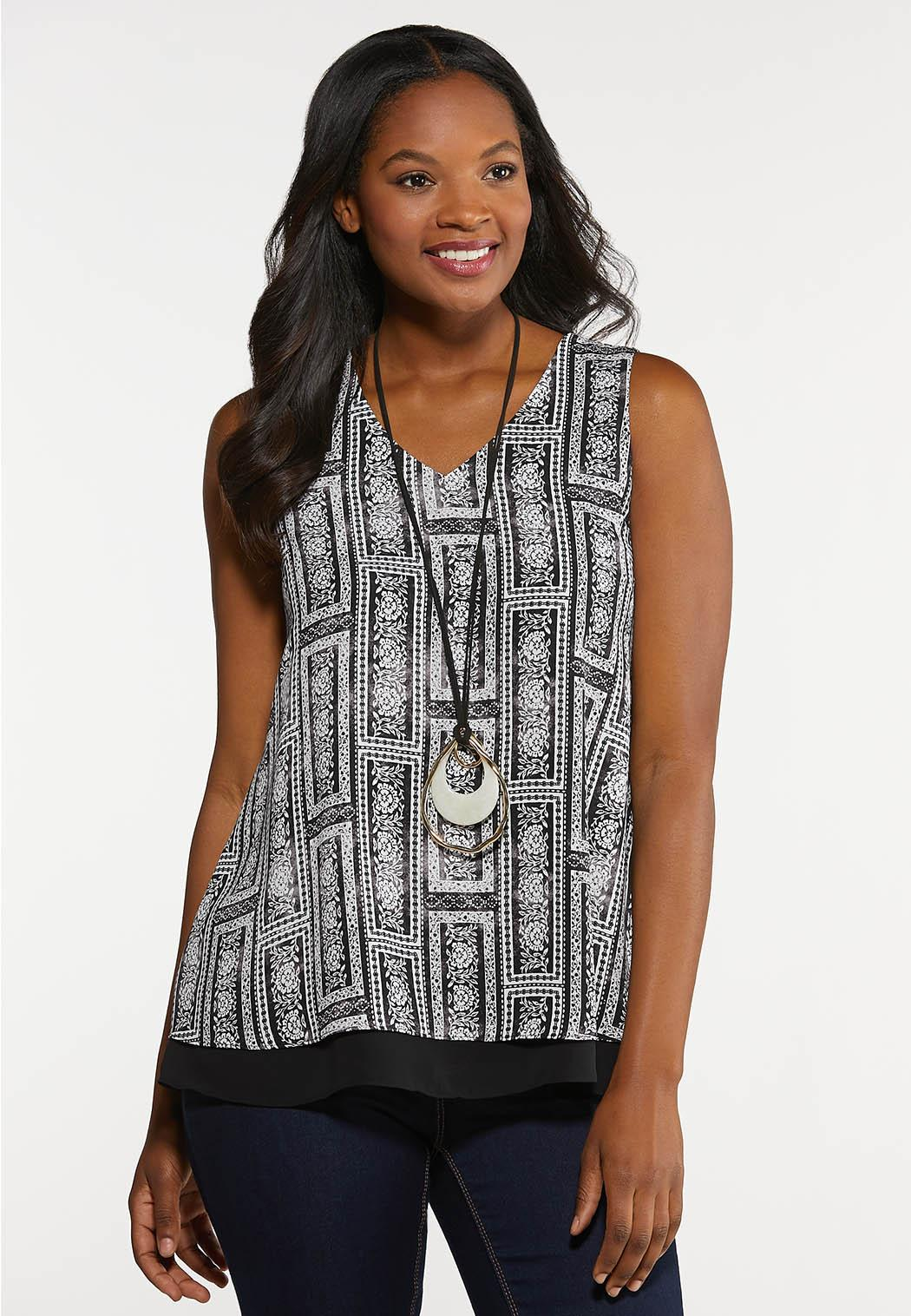 Plus Size Black And White Patchwork Tank
