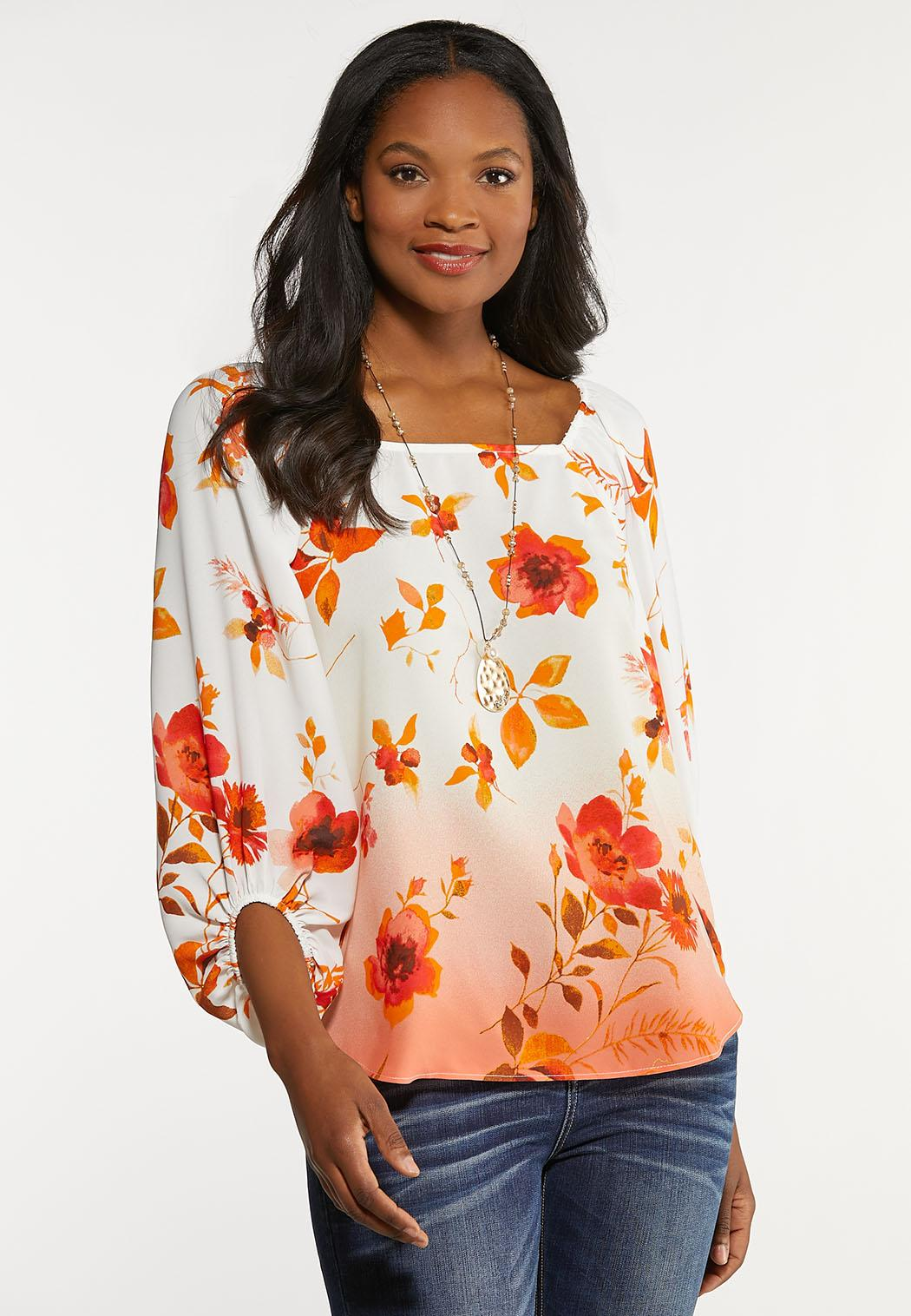 Plus Size Orange Blossom Top
