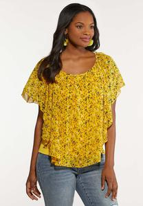 Plus Size Yellow Floral Capelet