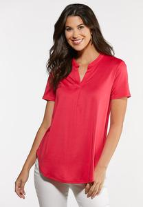 Plus Size Ribbed Popover Top