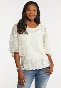 Plus Size Ivory Angel Sleeve Top