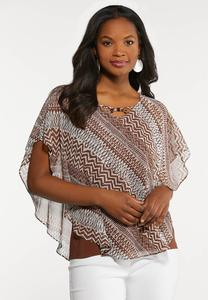 Plus Size Tribal Print Capelet