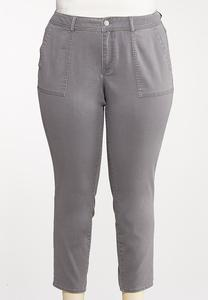 Plus Size Gray Ankle Pants