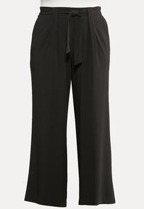 Plus Size Solid Tie Waist Pants