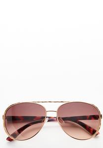 Beveled Frame Aviator Sunglasses