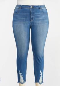 Plus Size Distressed Ankle Skinny Jeans