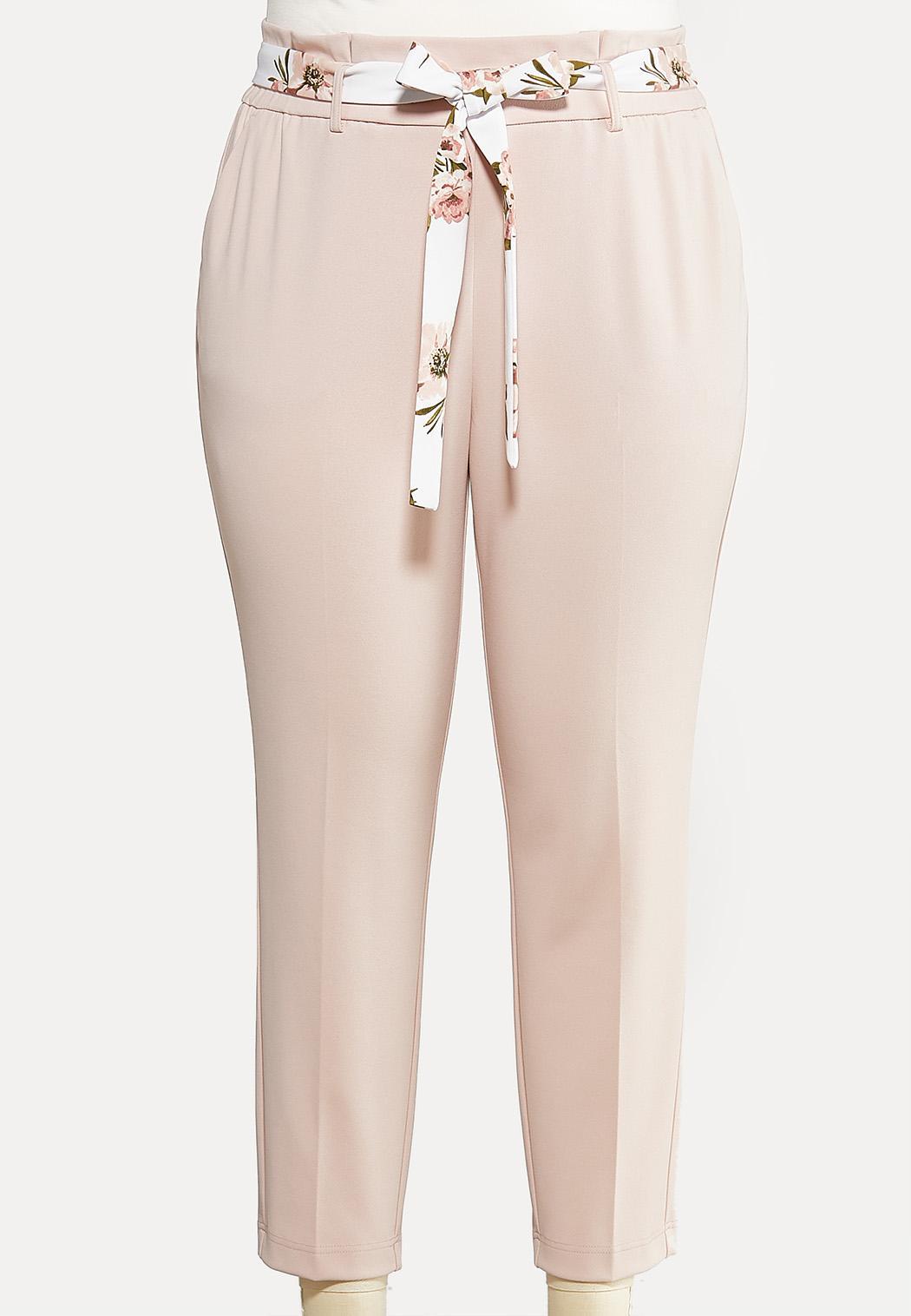 Plus Size Floral Belt Pants