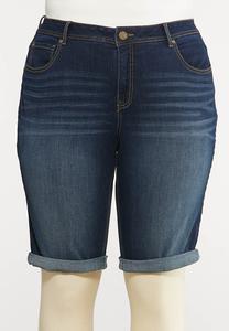 Plus Size Dark Wash Denim Shorts