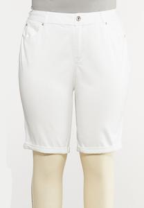 Plus Size White Jean Shorts
