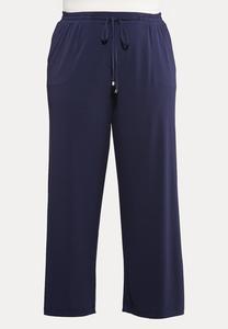 Plus Size Solid Wide Leg Pants