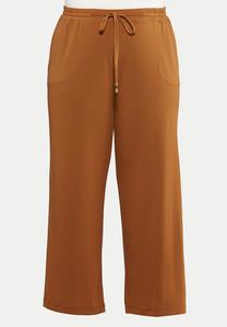 Plus Size Solid Wide Leg Pants