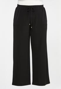 Plus Petite Solid Wide Leg Pants