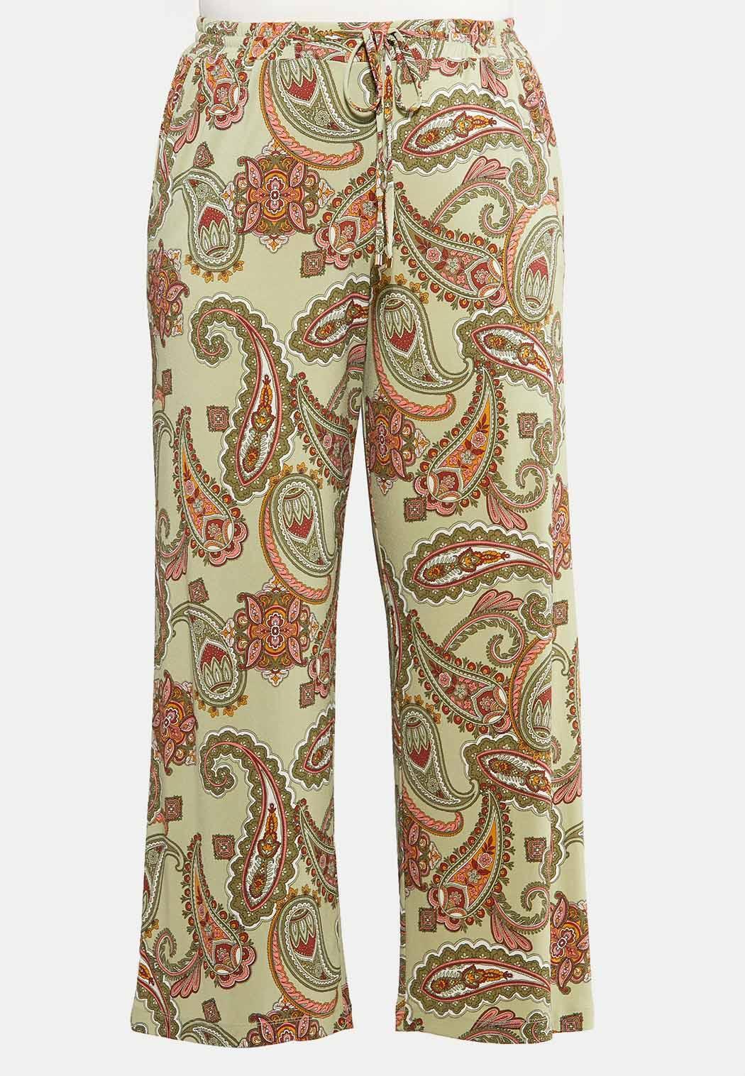 Plus Petite Paisley Tie Waist Pants