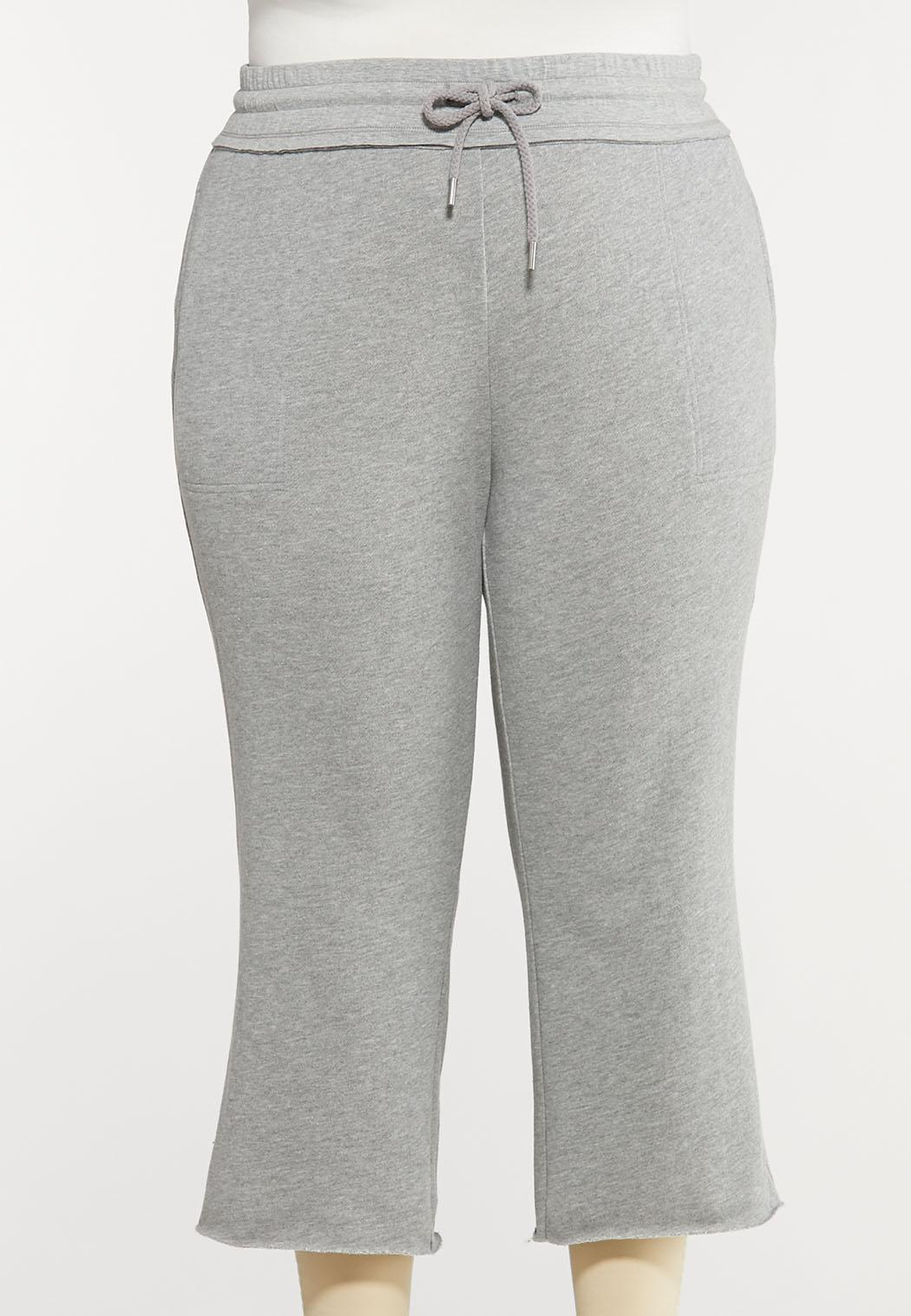 Plus Size Gray Cropped Athleisure Pants
