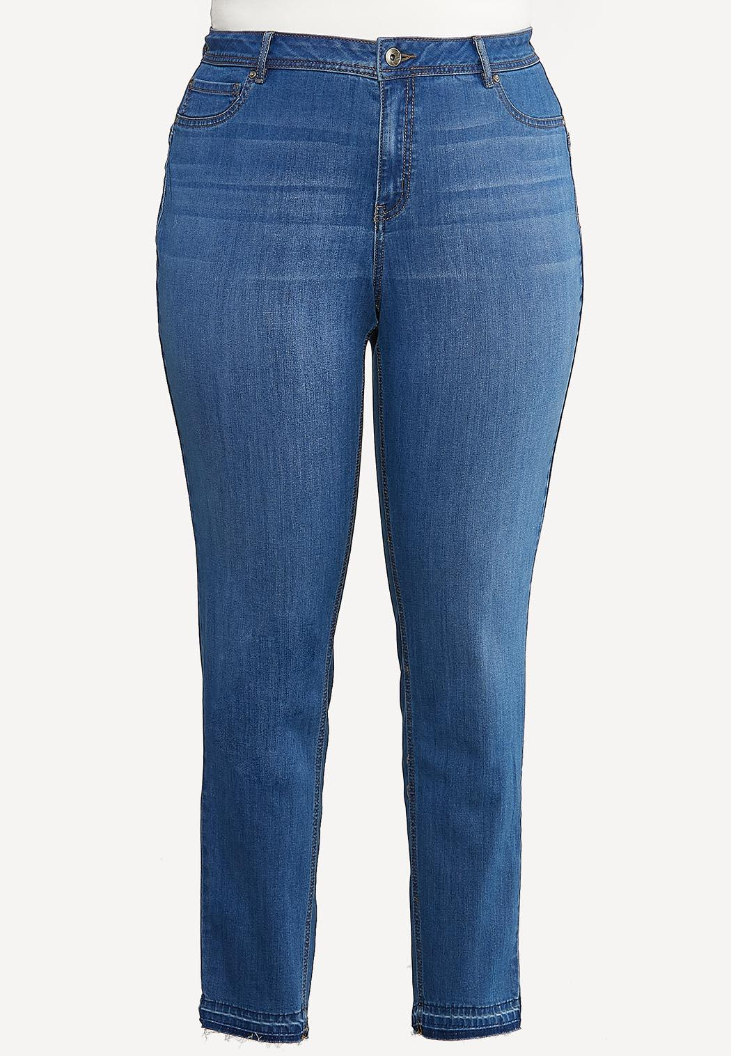 Plus Size Fray Hem Uplifting Jeans