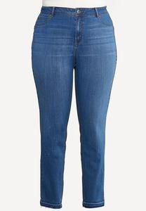 Plus Size Fray Hem Uplifting Jeans