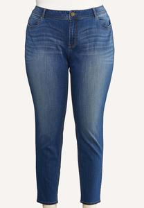 Plus Extended Medium Wash Skinny Jeans