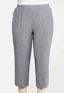 Plus Size Sailor Stripe Linen Pants