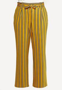 Plus Size Striped Paperbag Pants