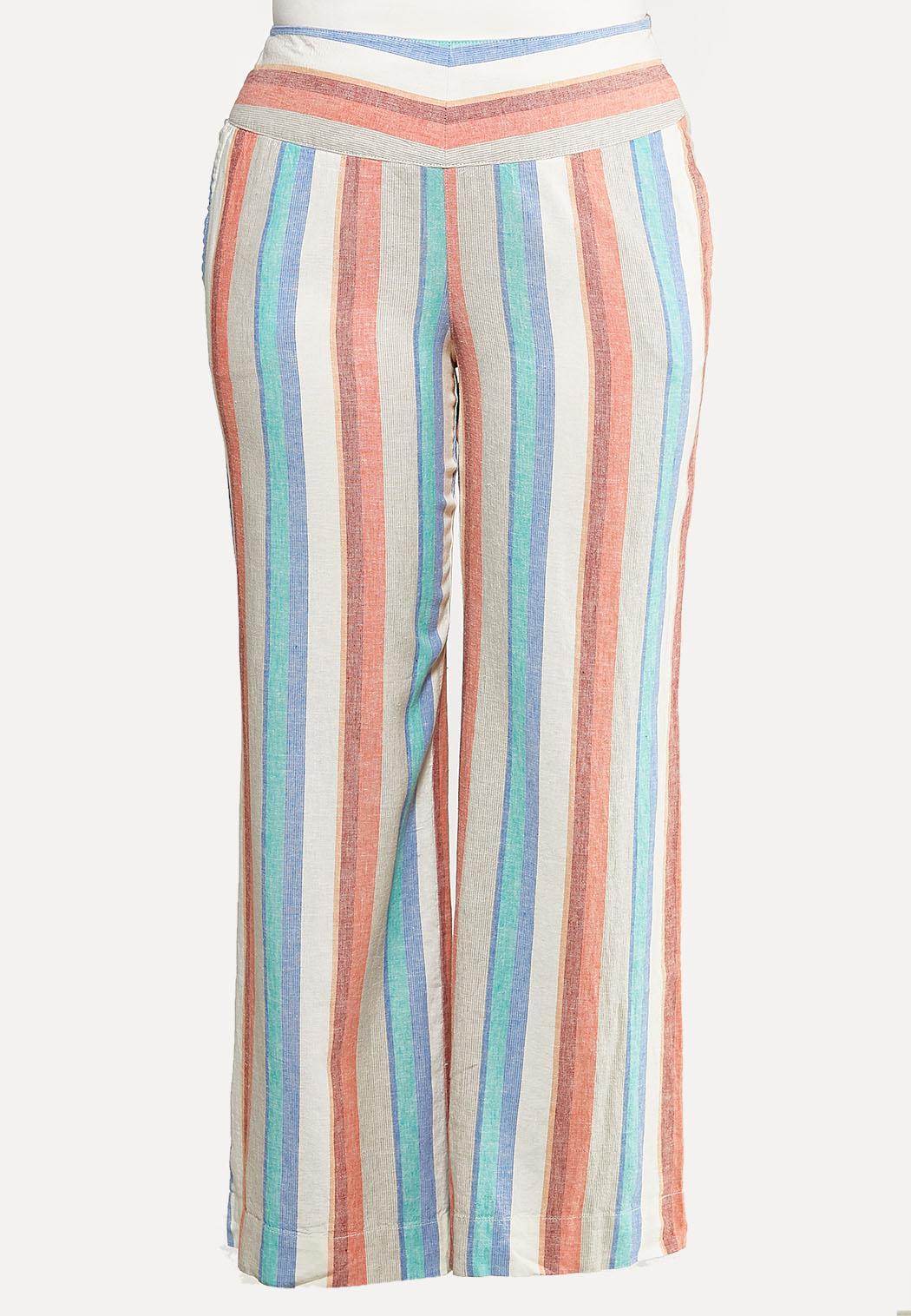 Plus Size Citrus Stripe Linen Pants