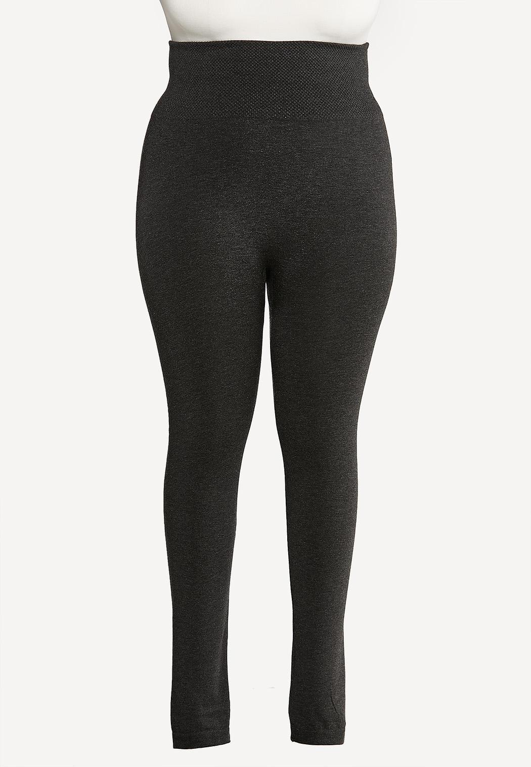 Plus Size Charcoal Fleece Leggings